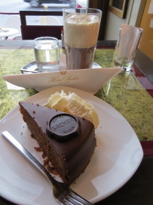 World-famous Sacher Cake, chocolate with apricot