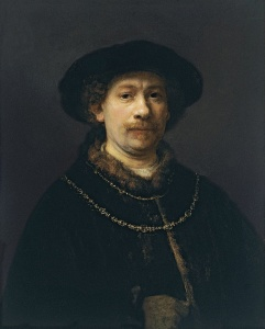 Self-Portrait Wearing a Hat and Two Chains. Rembrandt, 1642