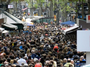 Las Ramblas on the Feast of Sant Jordi