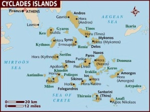 Map of the Cycladic islands of Greece