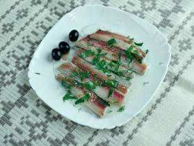 Boquerones en vinagre - appetizer or tapa, in south Spain.Marinated fresh anchovies.