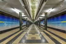 Tashkent, Uzbekistan - July 8, 2019: Kosmonavtlar Metro Station, a space-programme-themed station of the Tashkent Metro on Oʻzbekiston Line in Tashkent, Uzbekistan.